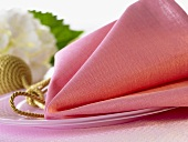Decorative pink fabric napkin