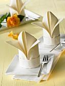 Napkin folding design: 'Lily'
