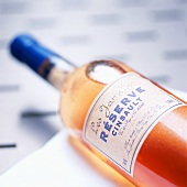 A bottle of rosé wine with label