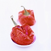 Two baked peppers in small dishes
