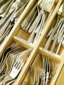 Cutlery in a cutlery drawer