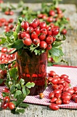 A bunch of rose hips in a glass