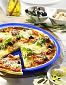 Salami pizza with olives