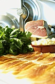 Italian ham, spinach and garlic