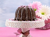 Chocolate cake with chocolate icing and decorations