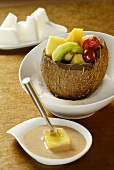 Fruit fondue with chestnut puree