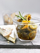 Brie with spicy peppered greengages