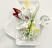 Ricotta with chives in chicory leaves