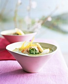 Potato and ramsons (wild garlic) soup with scallops