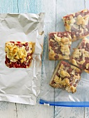 Redcurrant cake packed for freezing