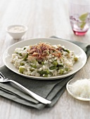 Asparagus risotto with ham