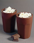 Mousse au chocolat in two beakers