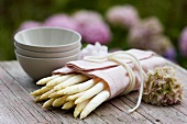 White asparagus wrapped in a cloth