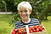 Blond boy with basket of strawberries in garden