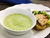 Herb foam soup with savoury bread
