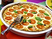 Cheese and tomato tart with basil