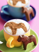 Cocoa with horse shape in the froth