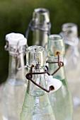 Five empty flip-top bottles