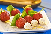 Strawberries and mozzarella on skewers