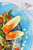 Plate of mixed salad with salmon-filled chicory boats