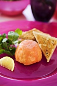 Salmon timbale with toast triangles