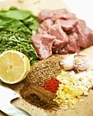 Ingredients for lamb kebabs