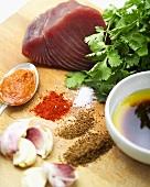 Tuna with various seasonings