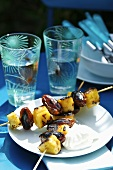 Grilled pineapple and date kebabs with yoghurt