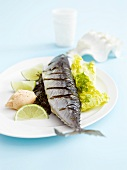 Mackerel with lime and herb stuffing