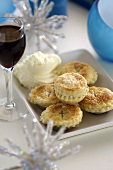 Mince pies with whipped cream