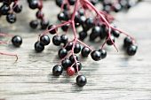 Elderberries on wooden background