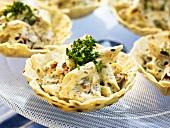 Pasta salad in tart shells