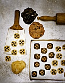 Checkerboard cookies with dough