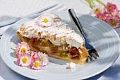 A piece of rhubarb meringue pie with bellis flowers
