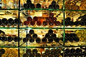 Wine bottles in a wine rack