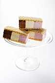 Neapolitan ice cream sandwiches (in wafers)
