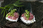 Sushi rolls with tuna and 'negi' (Japanese spring onions)