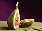 A ripe fig cut open