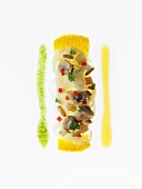 Spaghetti on asparagus with mussels and pine nuts (molecular gastronomy)