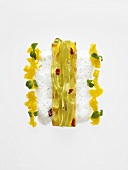 Tea pasta with grilled pineapple and milk foam (molecular gastronomy)