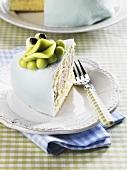 Prinsesstårta (princess cake) with a marzipan frog