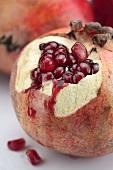 A pomegranate, cut open (close up)