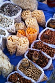 Various nuts and snacks at a market (Mexico)