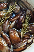 Shallots pickled in a balsamic vinaigrette