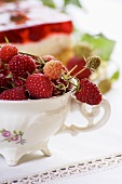 Fresh raspberries in a porcelain cup