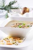 Porcini mushroom soup for Christmas dinner