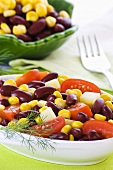 Bean salad with sweetcorn and tomatoes (Mexico)