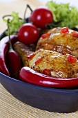 Roasted chicken legs with chili peppers
