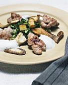 Veal sweetbreads with mushrooms and potatoes