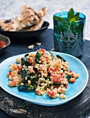 Bulgar pilaw with tomatoes and chard (Turkey)